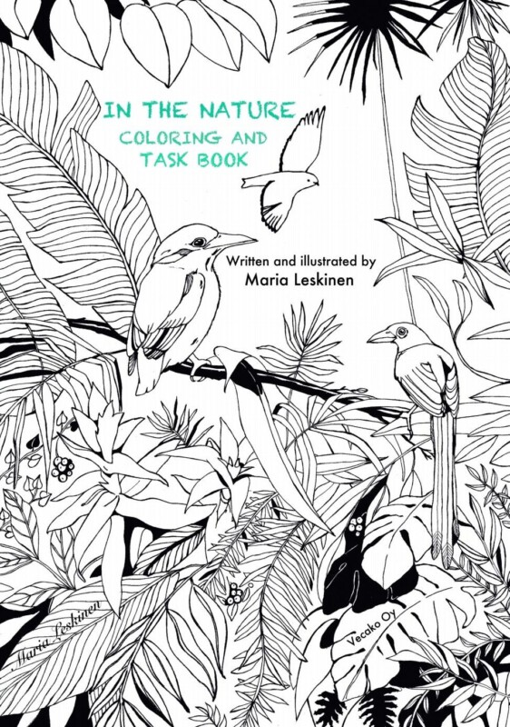 Maria Leskinen: In the nature: coloring and task book´s cover picture, 2020 (Kirja, Lastenkirja; Digitaalinen maalaus, Viivapiirros, Yhdistelmätekniikka)